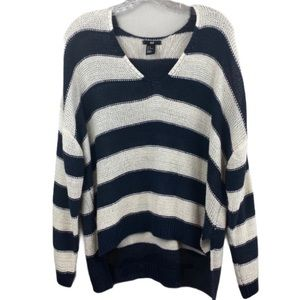 H & M Navy and White Striped Sweater Size Medium